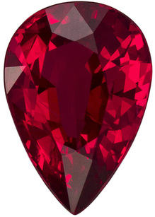 1.41 carats Super Gem Ruby in Rich Red Pigeon's Blood Color, 8.3 x 5.8 mm in Pear Cut