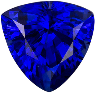 1.87 carats Fiery Trillion Blue Sapphire Gemstone in Vivid Rich Blue Color in 7.5 mm Size