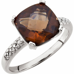 14KT White Gold .08 Carat Total Weight Diamond & 10x10mm Smoky Quartz Ring