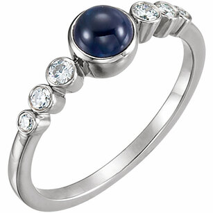 14KT White Gold Blue Sapphire & 1/6 Carat Total Weight Diamond Ring