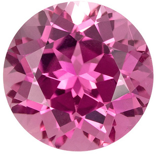 2.57 carats Bright Pink Tourmaline Loose Gem, Pure Pink, 8.4 mm Round Cut Gem