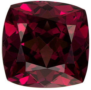 6.58 carats Rhodolite Gemstone in Cushion Cut, Rose Tinged Raspberry, 10.1mm Size