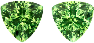7.2 mm, 2.74 carats Trillion Cut Green Tourmalines in Matched Pair in Fine Mint Green COlor