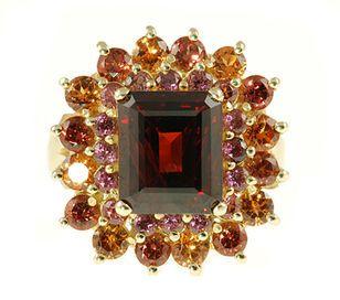 Almandite Garnet with mixed Garnet Accents - Fabulous Multicolor Garnet Ring for SALE - SOLD
