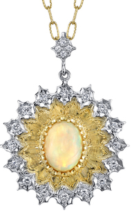 Astounding 3ct Oval Austrian Opal Gem Pendant in 2Tone 18kt Gold - 20 Diamond Accents