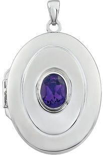 Beautiful .72ct 7x5mm Oval Shape February Birthstone Sterling Silver Locket - Bezel Set Amethyst - FREE Chain