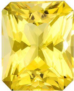 Beautiful Beryl Gemstone in Radiant Cut, Pure Lemon Yellow, 8.2 x 6.7 mm, 1.59 carats