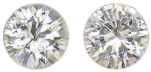 Beautiful Zircon Well Matched Pair in Round Cut, Colorless White, 6 mm, 2.08 carats