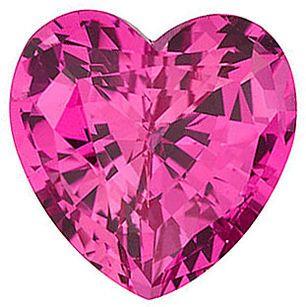 Chatham  Pink Sapphire Heart Cut in Grade GEM