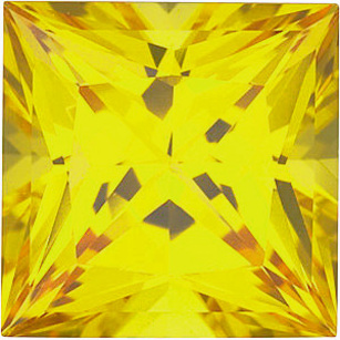 Chatham  Yellow Sapphire Princess Cut in Grade GEM