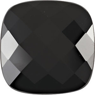 Checkerboard Antique Square Genuine Black Onyx in Grade AAA