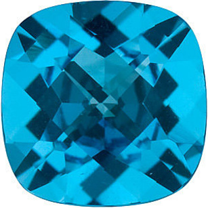 Checkerboard Antique Square Genuine Swiss Blue Topaz in Grade AAA