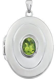 Classy .9ct 7x5mm Oval Shape August  Birthstone Sterling Silver Locket - Bezel Set Peridot - FREE Chain
