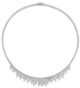 Elegant 3.81ctw Diamond Necklace in 18kt White Gold - 226 Bezel Set Round Diamonds