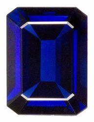 Emerald Cut Genuine Blue Sapphire in Grade AA