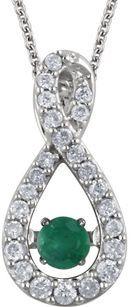 Fabulous Genuine .11ct 3mm Emerald Pendant With Diamond Studded Infiniti Frame - 14k White Gold - FREE Chain