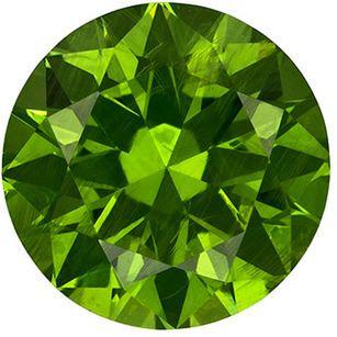 Fiery Russian Demantoid Garnet Round Cut Loose Gem, Intense Grass Green, 6.5 mm, 1.35 carats