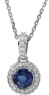 Fine 14k White Gold Genuine .7ct 5mm Blue Sapphire Entourage Pendant - 1/4 ct Diamond Accents - FREE Chain