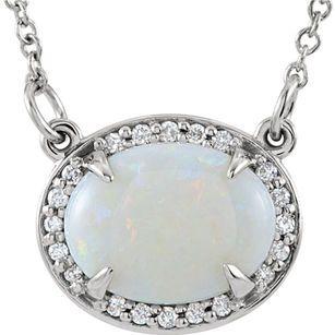 Genuine 1.1ct 9x7mm Australian White Opal Gemstone Halo Pendant in 14k Gold - .05ct Diamond Accents - FREE Chain