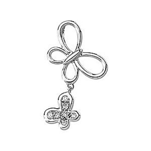 Girly Double Butterfly Pendant in 14k White Gold and .05ct Diamonds - FREE Chain