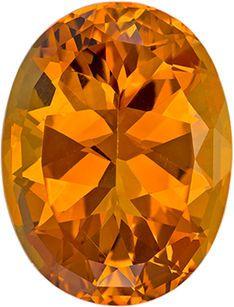 Impressive Orangey Gold Citrine Gem in Oval Cut, 19.9 x 15.2 mm, 16.52 carats