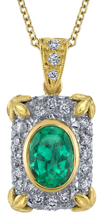 Intricate Detail Oval Emerald Gemstone 18kt 2-Tone Handmade Pendant - 0.45ctw Diamond Accents