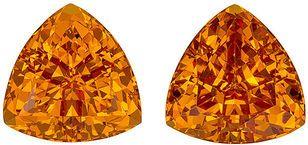 Lively Orange Spessartite Garnet Matched Pair in Trillion Cut, Sunkist Orange, 7.3 mm, 4.08 carats