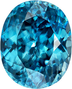 Magnificent Oval Blue Zircon Gemstone in Intense Rich Teal Blue, 17.7 x 14.3 mm, 24.09 carats