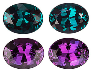 Magnificent Rare Matched Natural Alexandrite Gemstone Pair  for SALE - Super Gems in All Aspects, With Gubelin Certificate, Oval Cut, 2.30 carats