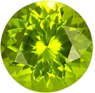 Beautiful Round Cut Peridot Loose Gem, Medium Green, 7.9 mm, 2.02 carats