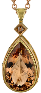 Pretty 18kt Yellow Gold 43.10ct Pear Shape Bezel Set Morganite Gemstone Pendant - 8 Round Brown Accents