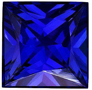 Princess Cut Genuine Blue Sapphire in Grade AAA
