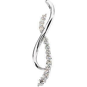 Ravishing Double Curve 14k Gold Journey 3/4ct Diamond Pendant for SALE - FREE Chain