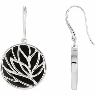 Sterling Silver Onyx Floral Design Earrings