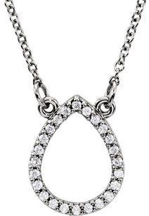 Stylish Open Tear Drop Diamond Studded Pendant in 14k Gold - 1/8ct 1mm Size GEms - FREE Chain