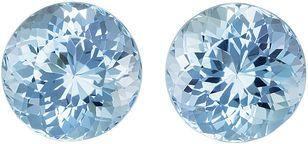 Superb Well Matched Aquamarines in Round Cut, Medium Fine Pure Blue, 11.4 mm, 11.81 carats