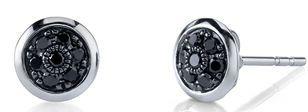 Trendy 0.64ctw Black Diamond Button Earrings in 18kt White Gold