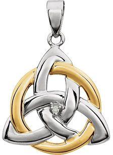 Unique Two-Tone 14k White & Yellow Gold Celtic Triquetra Symbol Pendant - Single Diamond Accent in Center - FREE Chain - SOLD