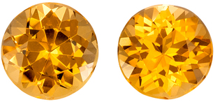 Very Pretty Round Cut Topaz Well Matched Pair, Rich Golden Peach, 5.9 mm, 1.94 carats