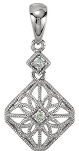 Vintage Style Filigree Dangle Pendant With Two Sparkling Diamonds 1.90mm for SALE - 14k White Gold - .06ct