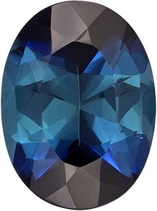 Vivid Deep Teal Blue Colored Tourmaline Gem in Oval Cut, 10.6 x 7.9 mm, 2.37 carats