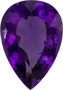 Vivid Rich Purple Amethyst Gem in Pear Cut, 23.2 x 16.3 mm, 19.63 carats