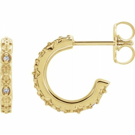 Diamond Earrings in 0.05 Carat .01 Carat Diamond Vintage-Inspired Hoop Earrings