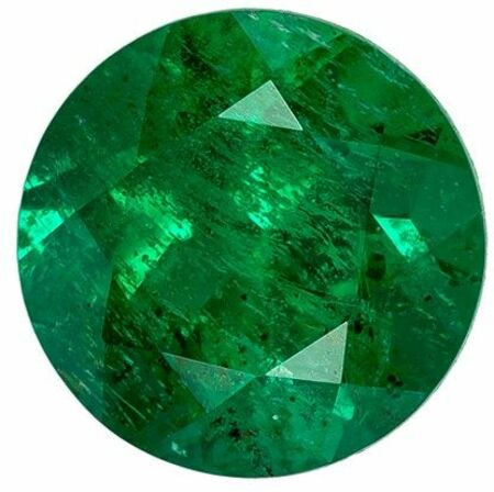 Loose Emerald Gemstone, 0.4 carats, Round Cut, 4.7 mm, A Beauty of a Gem