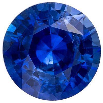 Excellent Blue Sapphire Genuine Loose Gemstone in Round Cut, 0.56 carats, Medium Rich Blue, 5 mm