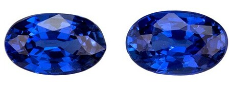 Unset Blue Sapphire Gemstones, Oval Cut, 0.57 carats, 4.8 x 3 mm Matching Pair, AfricaGems Certified - A Great Buy
