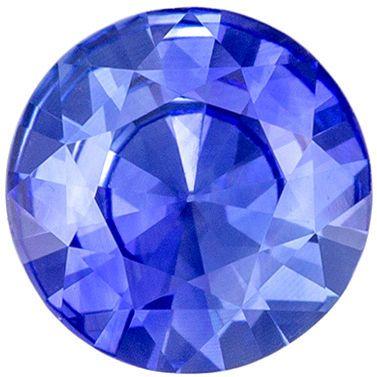 Lovely Blue Sapphire Loose Gem 0.57 carats, Round Cut, Vivid Cornflower Blue, 5.4 mm
