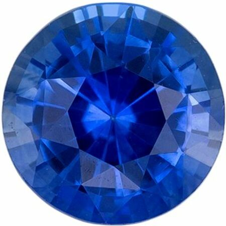 Bright & Lively Blue Sapphire Genuine Loose Gemstone in Round Cut, 0.58 carats, Vivid Rich Blue, 5 mm