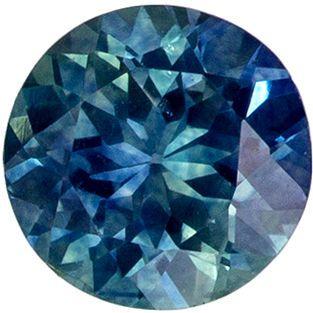 Must See 0.66 carats Blue Green Sapphire Round Genuine Gemstone, 5.1 mm