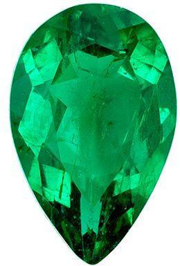 Deal on Loose Emerald Gemstone in Pear Cut, 7.8 x 5 mm, Vivid Rich Green, 0.68 carats